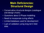 main deficiencies structural design