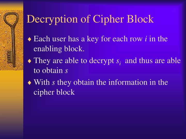 Decryption of Cipher Block