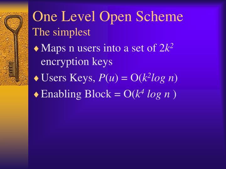 One Level Open Scheme