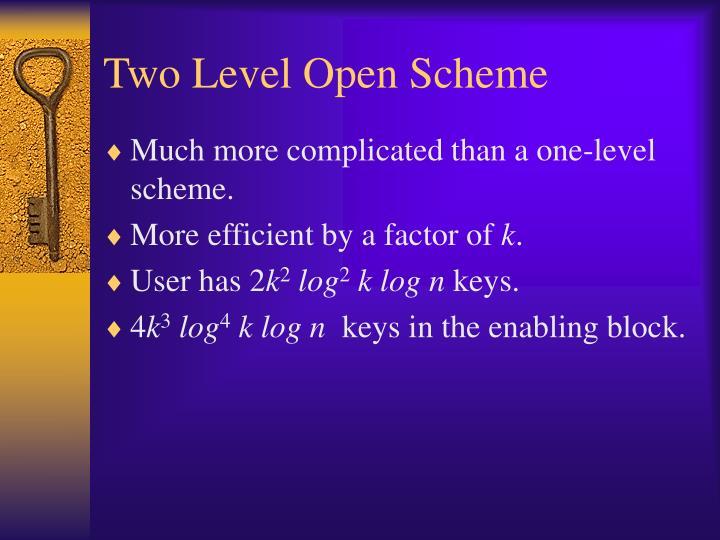 Two Level Open Scheme
