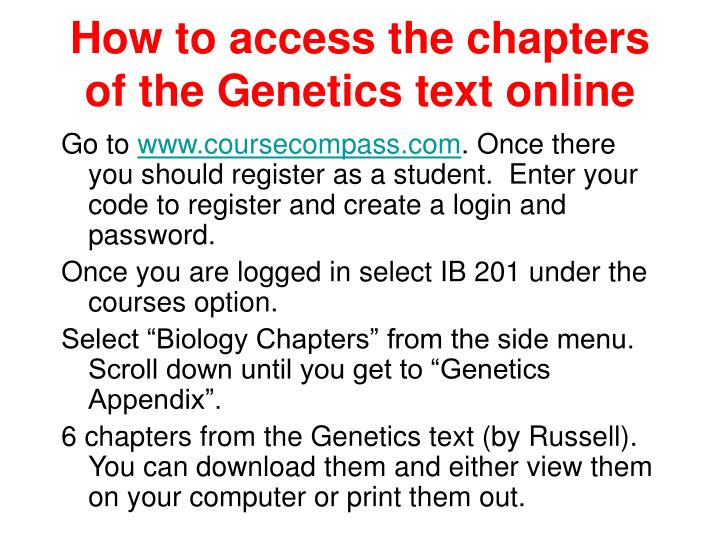 How to access the chapters of the Genetics text online