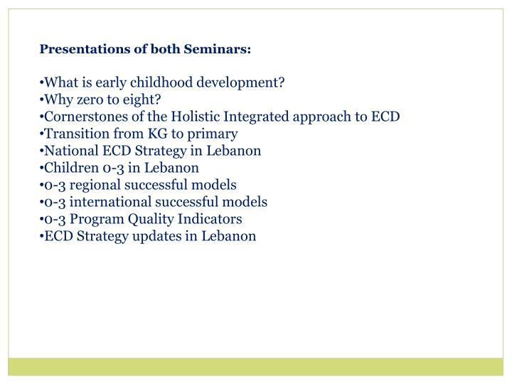 Presentations of both Seminars:
