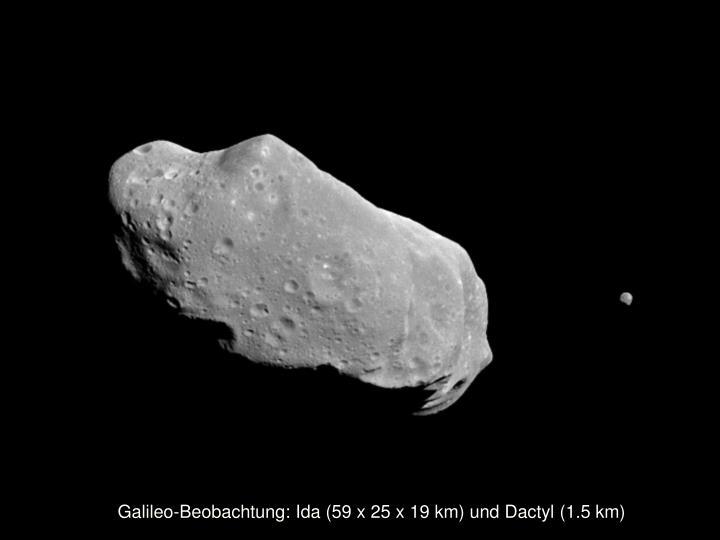 Galileo-Beobachtung: Ida (59 x 25 x 19 km) und Dactyl (1.5 km)