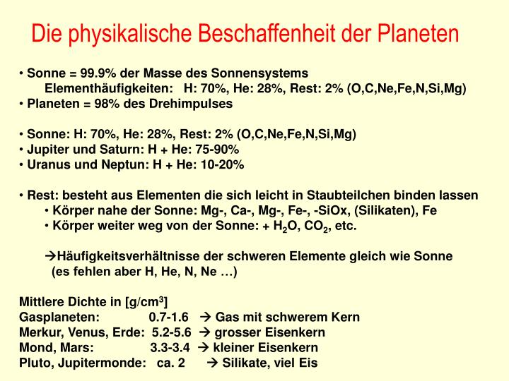 Die physikalische Beschaffenheit der Planeten
