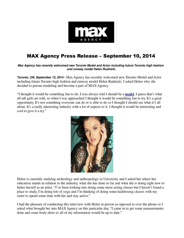 Max agency press release september 13 2014