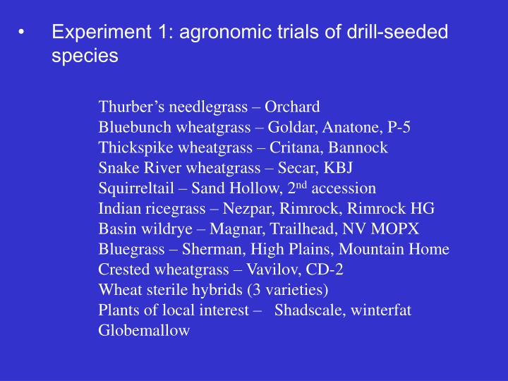 Experiment 1: agronomic trials of drill-seeded species