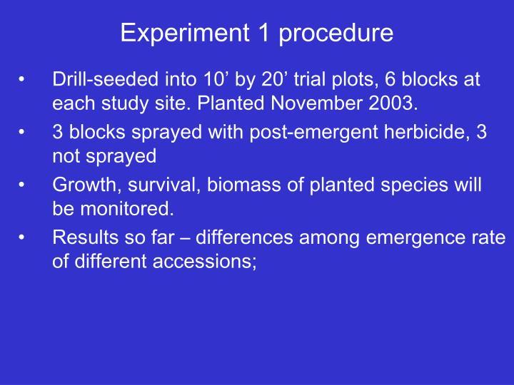 Experiment 1 procedure