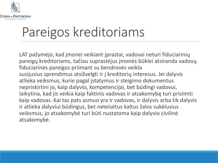 Pareigos kreditoriams