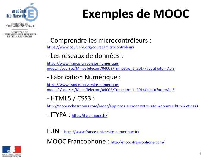 Exemples de MOOC