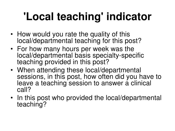 'Local teaching' indicator