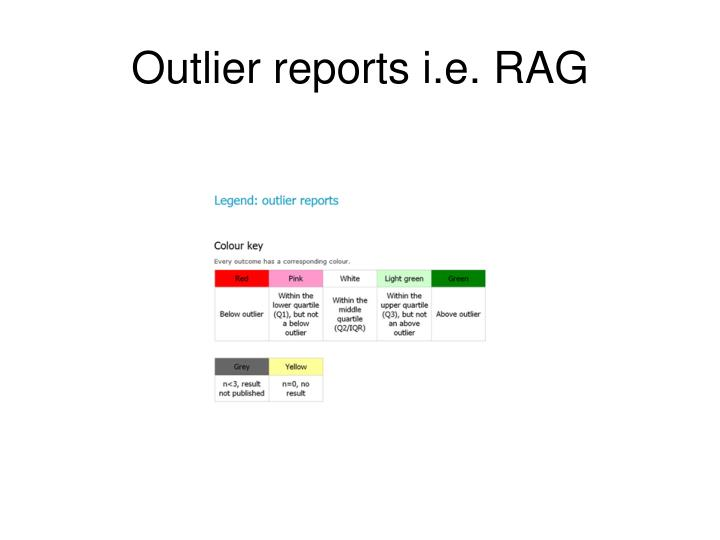 Outlier reports i.e. RAG