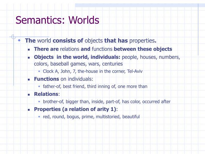 Semantics: Worlds