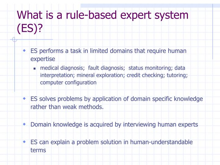What is a rule-based expert system (ES)?
