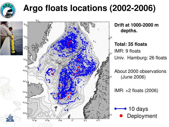 Argo floats locations (2002-2006)