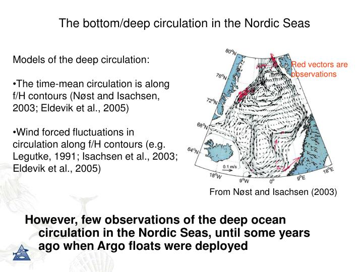The bottom/deep circulation in the Nordic Seas