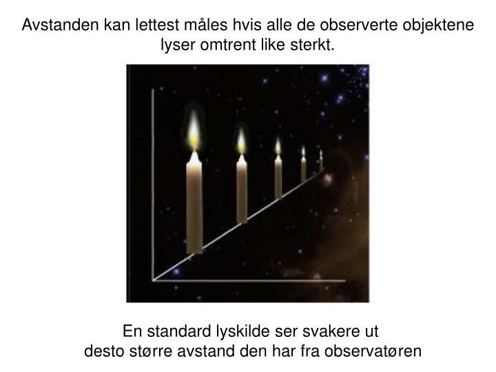 Avstanden kan lettest måles hvis alle de observerte objektene lyser omtrent like sterkt.