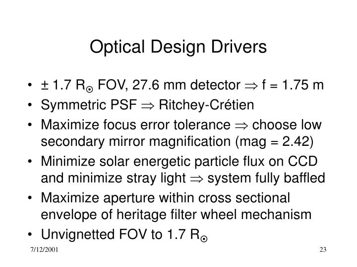 Optical Design Drivers