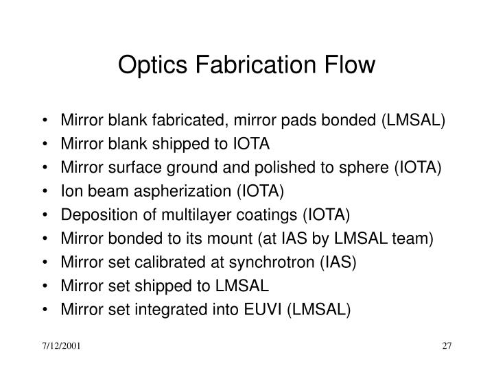 Optics Fabrication Flow