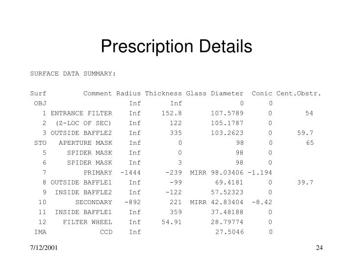 Prescription Details