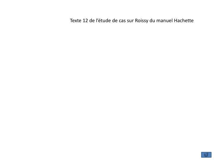 Texte 12 de l'étude de cas sur Roissy du manuel Hachette