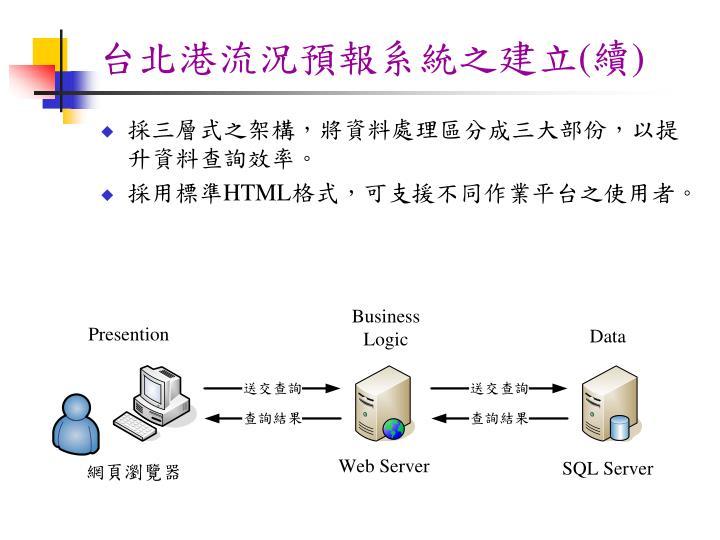 台北港流況預報系統之建立