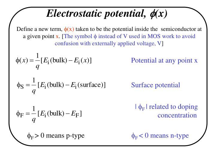 Electrostatic potential,