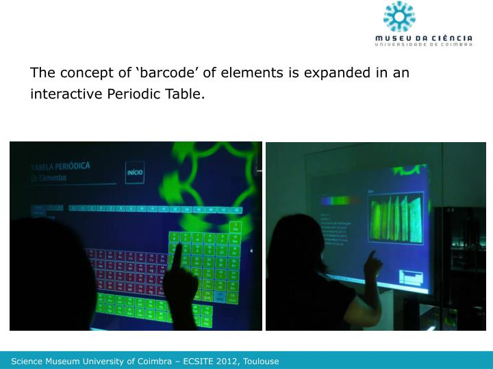 The concept of 'barcode' of elements is expanded in an interactive Periodic Table.