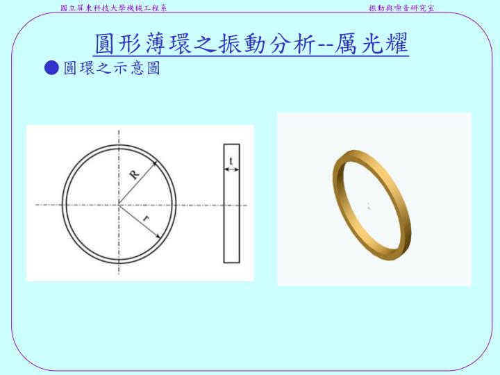 圓形薄環之振動分析