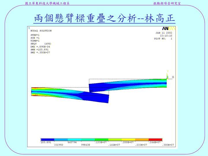 兩個懸臂樑重疊之分析