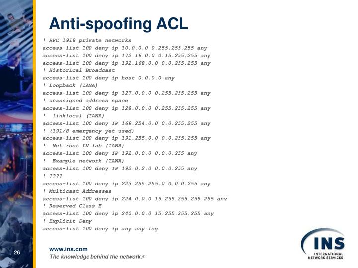 Anti-spoofing ACL