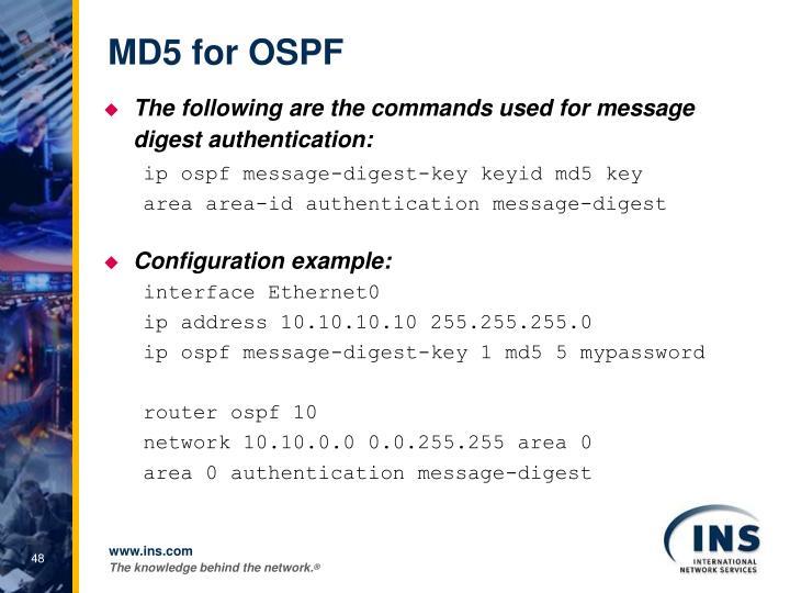MD5 for OSPF