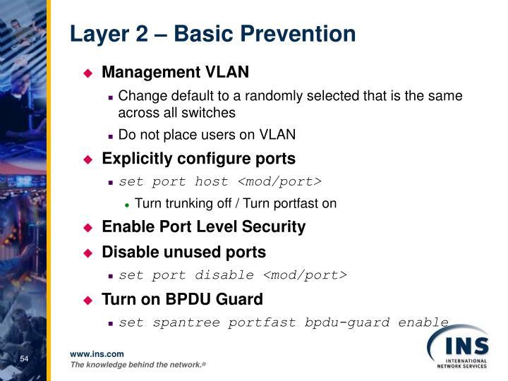Layer 2 – Basic Prevention