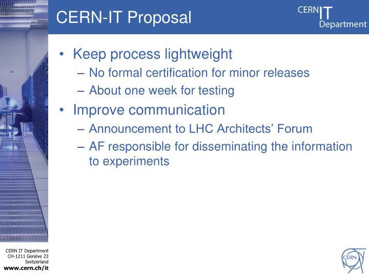 CERN-IT Proposal