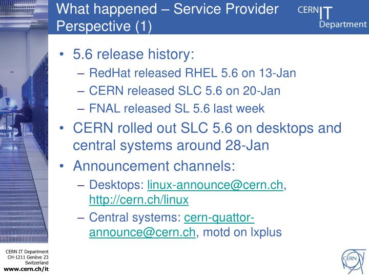 What happened service provider perspective 1