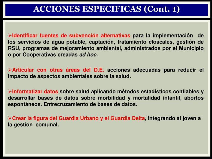 ACCIONES ESPECIFICAS (Cont. 1)