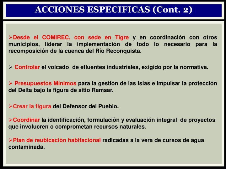 ACCIONES ESPECIFICAS (Cont. 2)