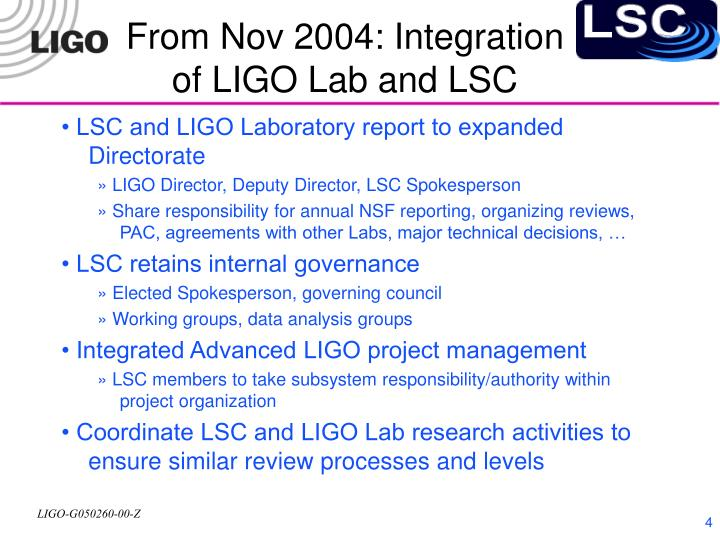 From Nov 2004: Integration