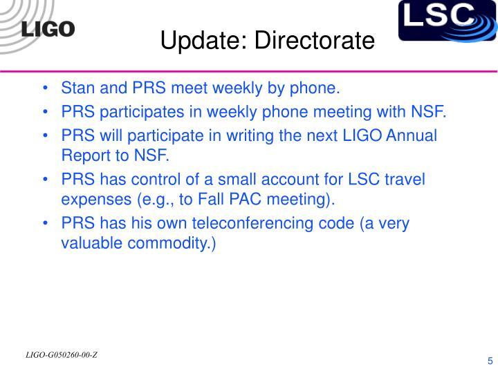 Update: Directorate