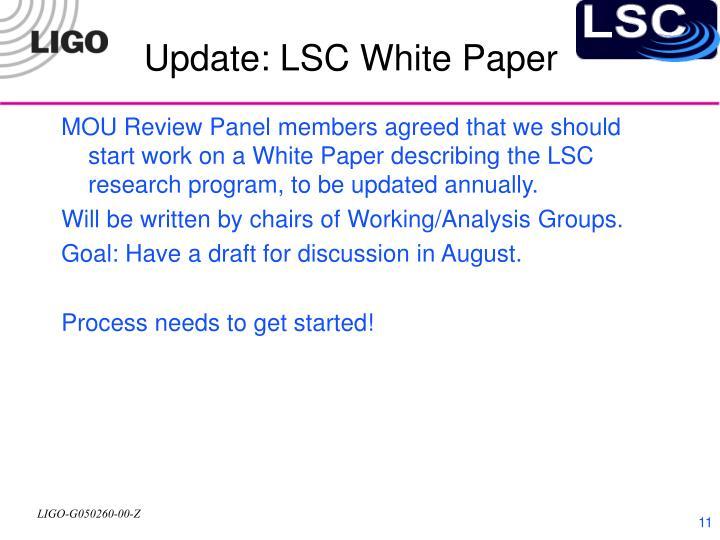 Update: LSC White Paper