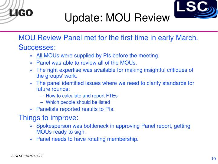 Update: MOU Review