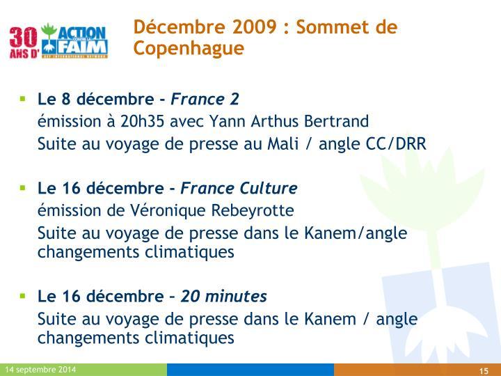 Décembre 2009 : Sommet de Copenhague