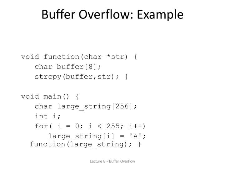 Buffer Overflow: Example