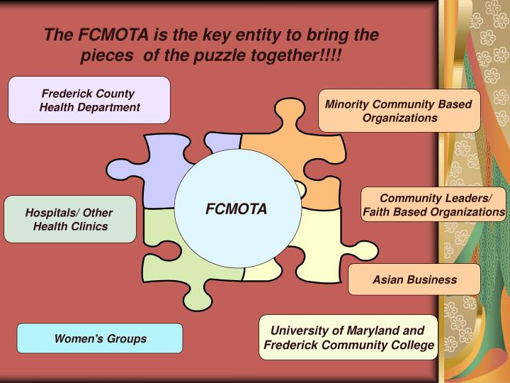 The FCMOTA is the key entity to bring the pieces  of the puzzle together!!!!