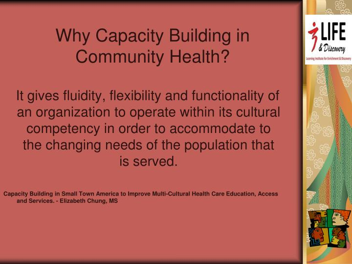 Why Capacity Building in Community Health?