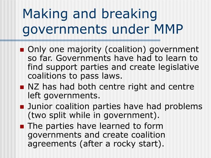 Making and breaking governments under MMP