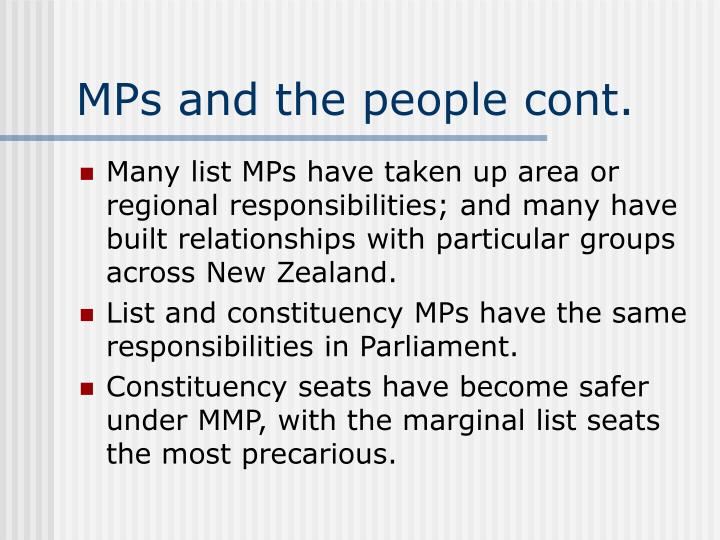 MPs and the people cont.