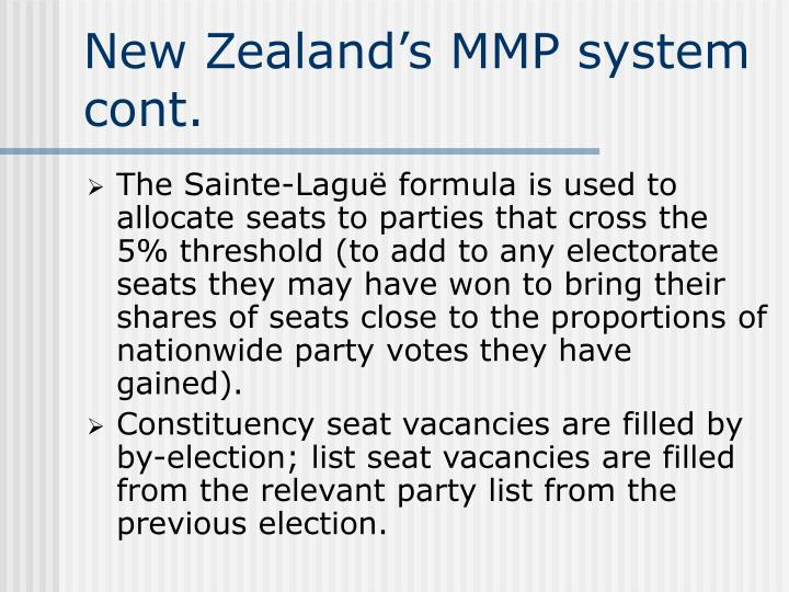 New Zealand's MMP system cont.
