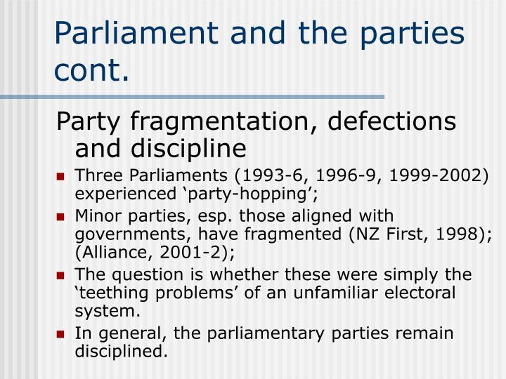 Parliament and the parties cont.