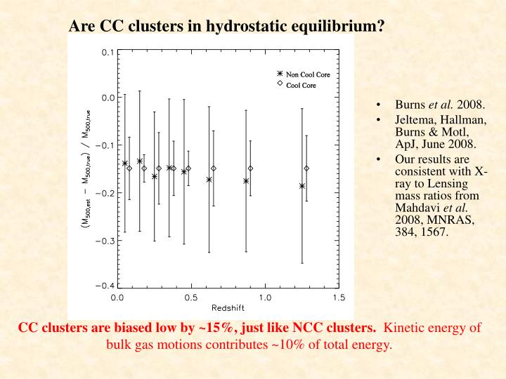 Are CC clusters in hydrostatic equilibrium?