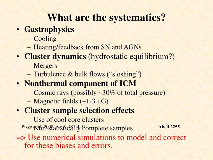 What are the systematics?